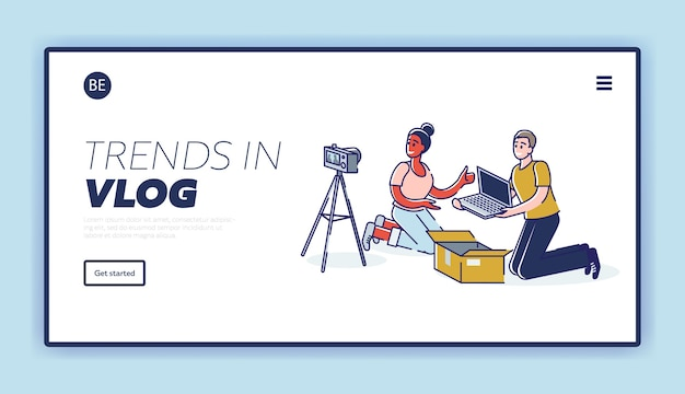 Bestemmingspagina met een aantal bloggers die video-unboxing filmen en een nieuwe laptop bekijken