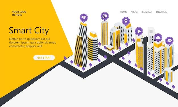 Bestemmingspagina met isometrische stijlillustraties van hoge gebouwen en pictogrammen