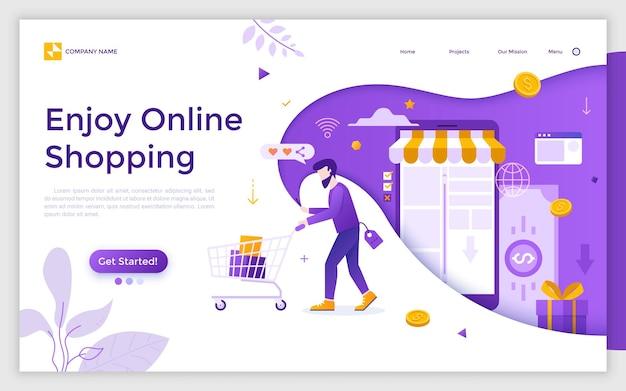 Bestemmingspagina met man die supermarktkar draagt, smartphone vasthoudt, producten koopt in internetwinkel en plaats voor tekst. geniet van online winkelen. platte vectorillustratie voor mobiele app-advertentie.
