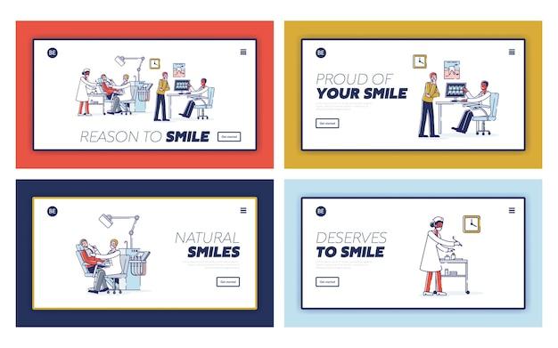 Bestemmingspagina's ingesteld voor tandheelkundige kliniekwebsite voor online service