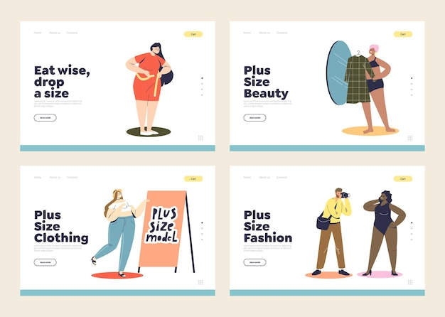 Bestemmingspagina's met vrouwen met een grotere maat die kleding kopen, afvallen en modellenwerk. vrouwelijke figuur en lichaamsaanvaarding concept.