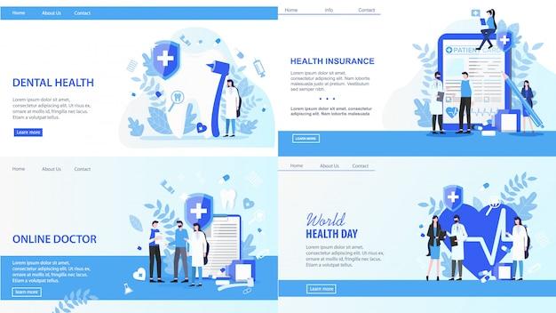 Bestemmingspagina's. online arts world health day tandheelkundige verzekering vectorillustratie.