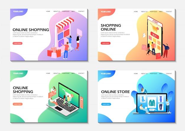 Bestemmingspagina's. online winkelen, online winkel. isometrisch. moderne webpagina's.