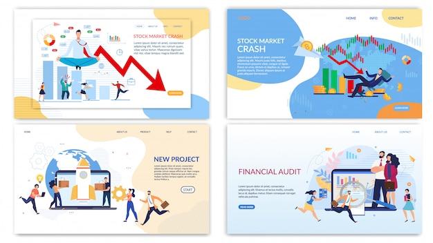 Bestemmingspagina set voor bedrijven, audit, aandelenmarkt