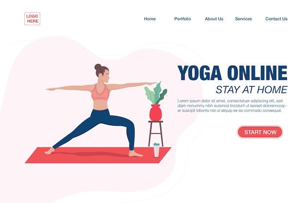 Bestemmingspagina sjabloon concept meisje doet yoga online thuis