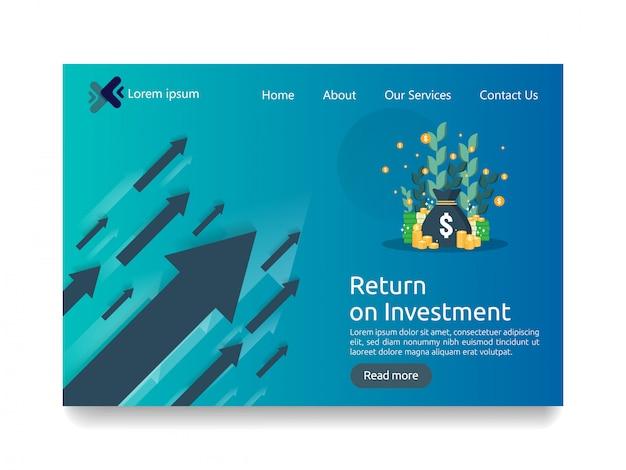 Bestemmingspagina sjabloon voor investeringen bedrijfsconcept
