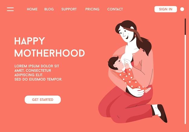 Bestemmingspagina van gelukkig moederschap concept