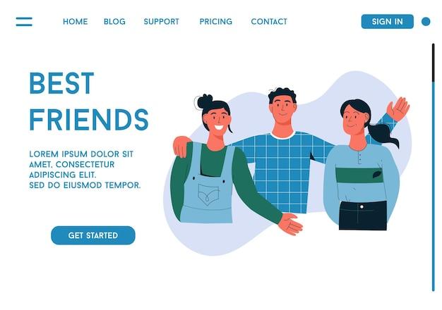 Bestemmingspagina van het beste vrienden-concept