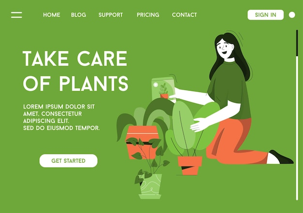Bestemmingspagina van het concept voor het verzorgen van planten