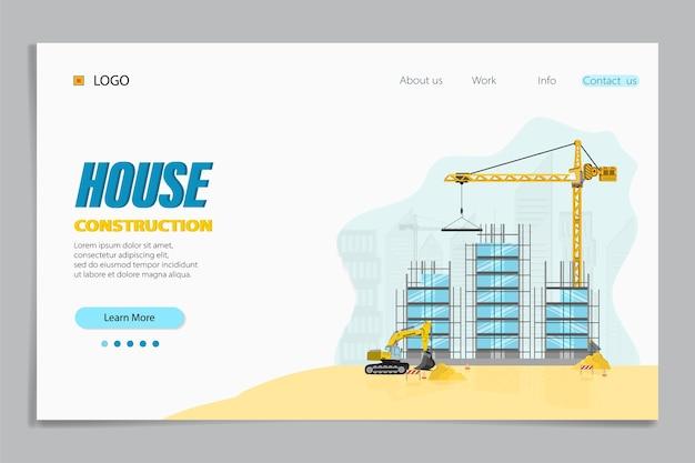 Bestemmingspagina van woningbouw. gebouwen en speciale apparatuur op de bouwplaats. opbouw met bouwkraan en graafmachine.