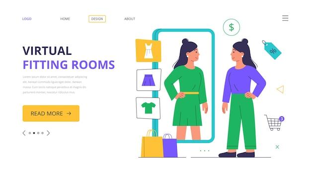 Bestemmingspagina. virtuele paskamer. een vrouw koopt kleding, augmented reality-app op een smartphone.