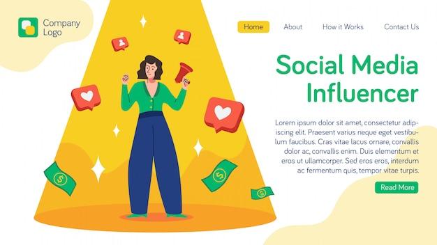 Bestemmingspagina voor beïnvloeders van sociale media