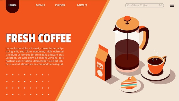 Bestemmingspagina voor coffeeshop met isometrische stijl