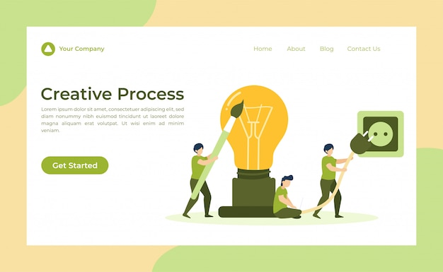 Bestemmingspagina voor creatief proces