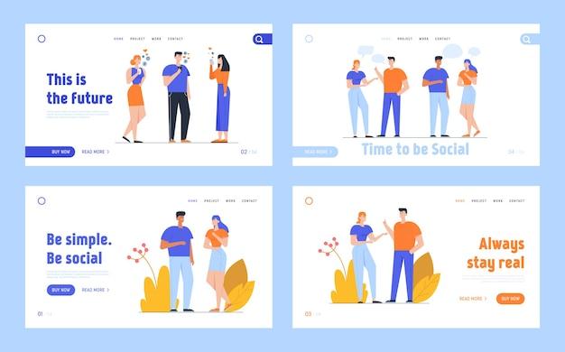 Bestemmingspagina voor sociale media-netwerken en communicatie met mensen