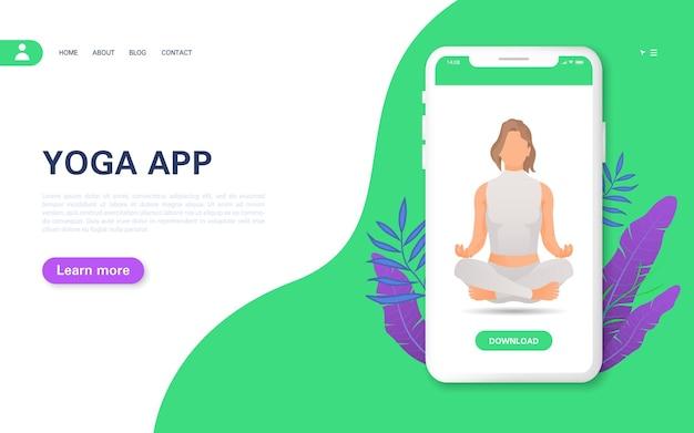 Bestemmingspagina voor yoga-smartphone-app.