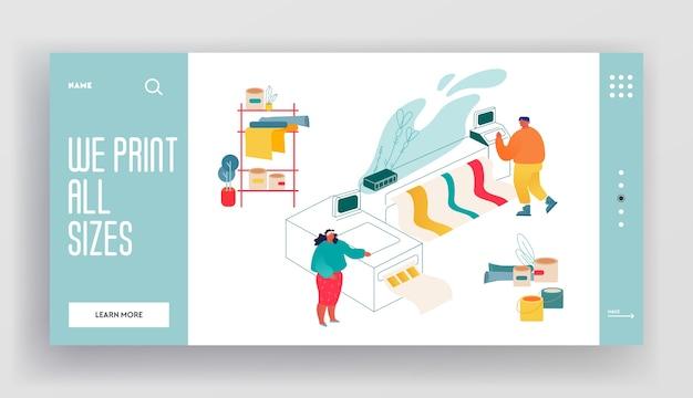 Bestemmingspagina website van printshop of printing house service center. man en vrouw die werken met breedbeeld offset-inkjetprinter.
