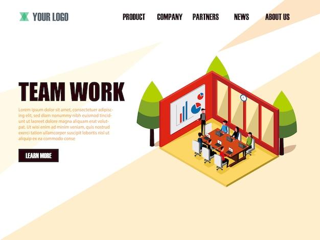 Bestemmingspagina websjabloon isometrische teamwerk