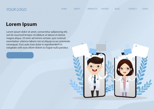 Bestemmingspagina websjabloon met lachende arts op het scherm van de telefoon. medisch internet consult. gezondheidszorg consulting webservice. ziekenhuisondersteuning online