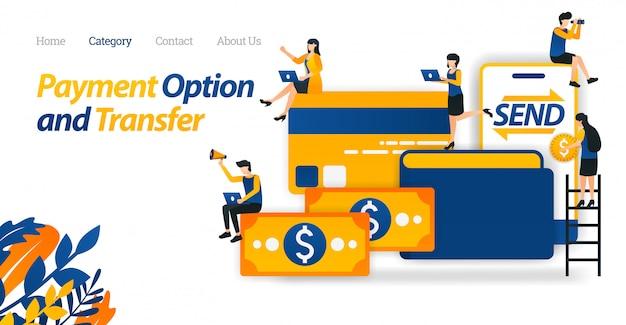 Bestemmingspagina websjabloon met opslag-, overdrachts- en betalingsopties met geld, portefeuilles, creditcards en mobiel.