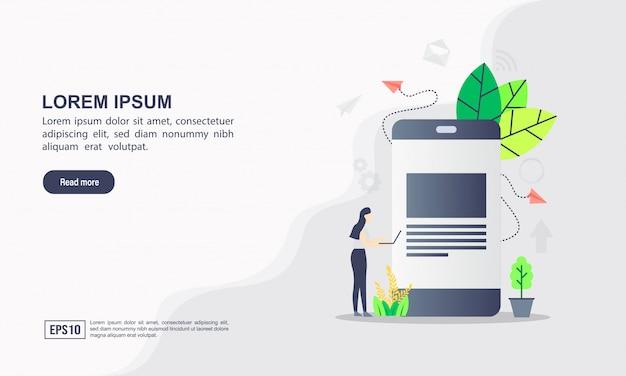 Bestemmingspagina websjabloon voor het delen van informatie & mensen netwerk concept