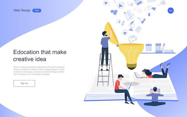 Bestemmingspaginasjabloon. concept van onderwijs voor online leren, training en cursussen.
