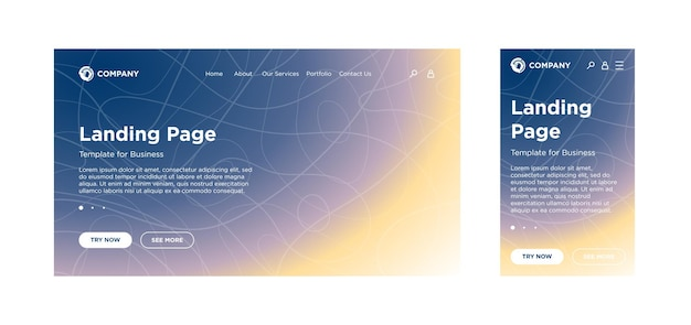 Bestemmingspaginasjabloon desktop-pc en mobiele adaptieve versie minimaal geometrisch vervagingseffect