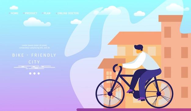 Bestemmingspaginasjabloon. fietsvriendelijke stad. man riding en reizen fiets.