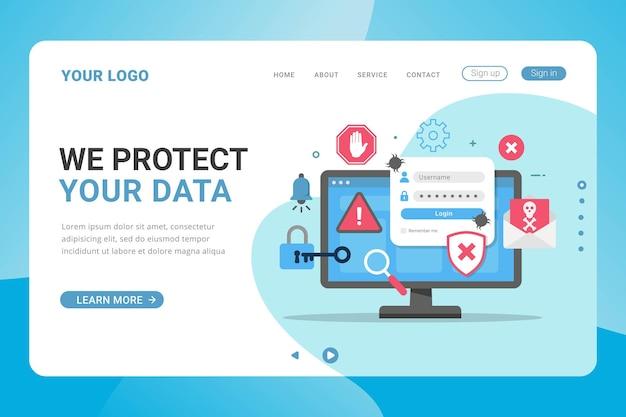 Bestemmingspaginasjabloon gegevensbescherming tegen oplichtingsontwerpconcept