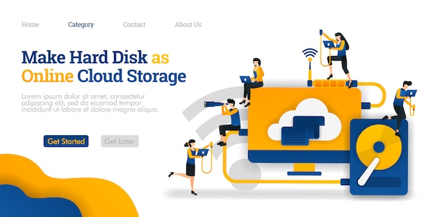 Bestemmingspaginasjabloon. maak harde schijf als online cloudopslag. bestanden delen in harde opslag voor cloud hosting