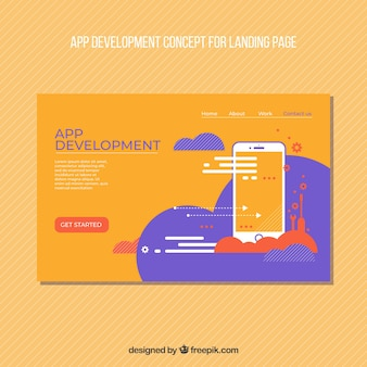 Bestemmingspaginasjabloon met app ontwikkelingsconcept
