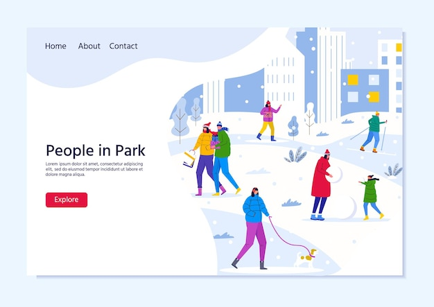 Bestemmingspaginasjabloon met mensen die in het winterstadspark lopen, ouders lopen met kinderen en hebben plezier buiten. vector voor webdesign, flyer, poster, banner, vakantieachtergrond
