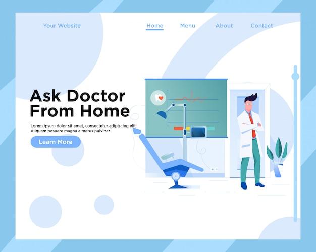 Bestemmingspaginasjabloon, moderne platte webpagina ontwerpsjabloon tandarts
