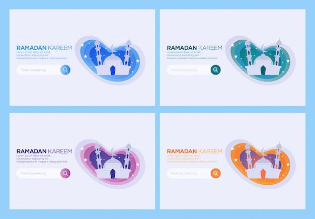 Bestemmingspaginasjabloon, set van mosque web design template. fijne ramadan.