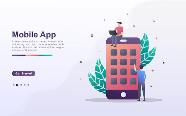 Bestemmingspaginasjabloon van mobiele app in gradiënteffectstijl