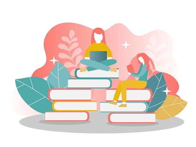 Bestemmingspaginasjabloon van online onderwijs - boeken lezen - twee meisjes. modern plat ontwerpconcept van webpagina-ontwerp voor website en mobiele website. vectorillustratie.