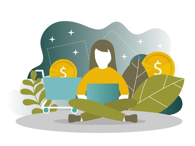 Bestemmingspaginasjabloon van online winkelen en mobiele betalingen voor webpagina's, sociale media, documenten, kaarten, posters. vector illustratie. vrouw op zoek naar informatie op de computer