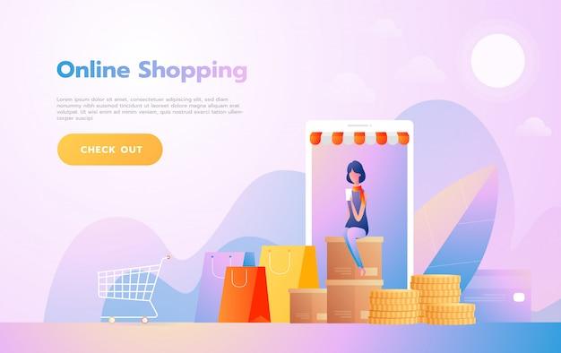 Bestemmingspaginasjabloon van online winkelen. modern plat ontwerpconcept van webpagina ontwerp voor website en mobiele website. vector illustratie