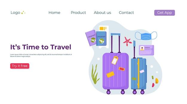 Bestemmingspaginasjabloon van reisspullen voor avontuurlijk toerisme, reizen. reis decoratief ontwerp met schelpen, accessoires, koffer, bagage. platte cartoon trendy vector.