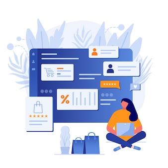 Bestemmingspaginasjabloon voor online winkelen met platte meisjespersonages en aankopen. concept voor websitebanner, sjablonen voor mobiele apps, e-commerceverkoop, digitale marketing. vector illustratie