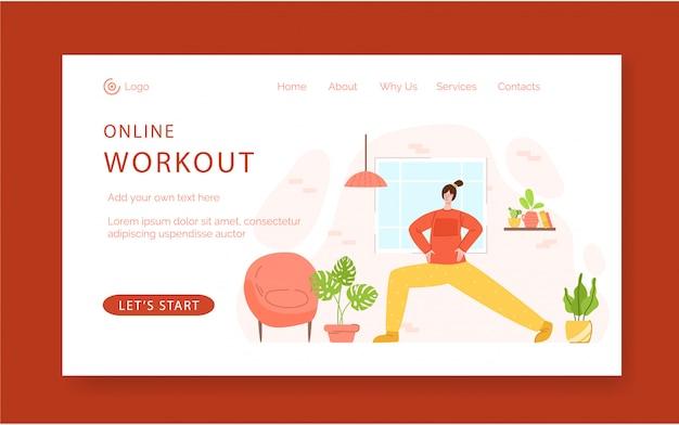 Bestemmingspaginasjabloon - vrouw die lungesoefeningen thuis doen. indoor fitness training concept