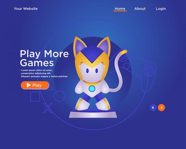 Bestemmingspaginasjabloon, web design template gamer met karakter. robot cat