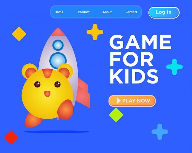 Bestemmingspaginasjabloon, webontwerpsjabloon spel voor kinderen