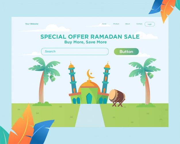 Bestemmingspaginasjabloon, website ontwerpsjabloon ramadan met moskee ontwerp