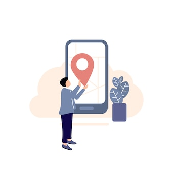 Bestemmingspictogram, locatiepictogram, gps-navigatie illustratie, kaart, navigatieapparatuur, concepten en onderwerpen, digitale weergave, apparatuur