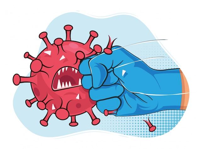 Bestrijd coronavirus. sterke arm in blauwe medische beschermende handschoenponsen en crash covid-19 virusbacteriënmascotte. illustratie.