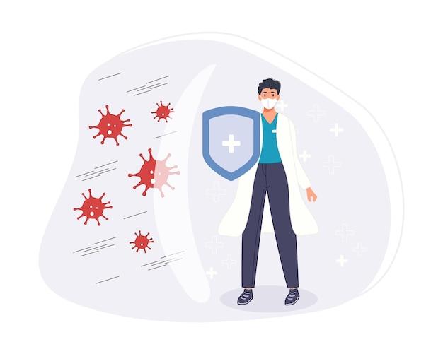 Bestrijd en bescherm het coronavirus-concept. medisch personeel bestrijdt beschermend schild met pandemie.