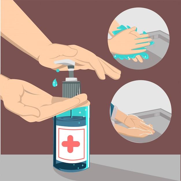 Bestrijd het coronavirus, het handdesinfecterend middel, desinfecteer de handen met het concept van een ontsmettingsgel in een plat ontwerp.