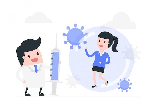 Bestrijding van coronavirus concept illustratie.