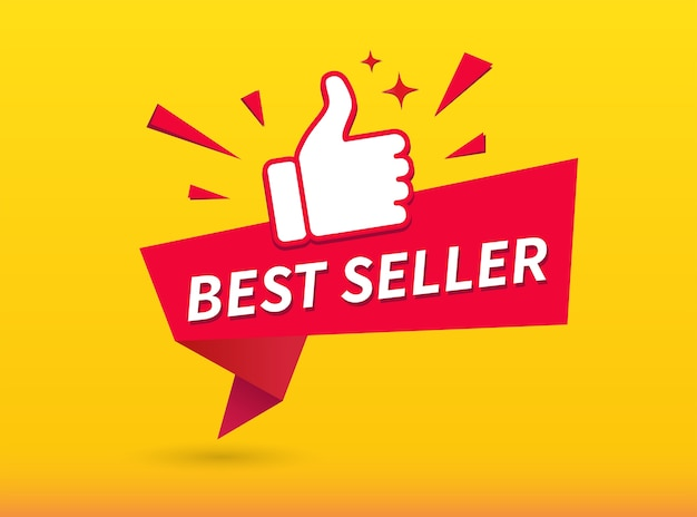 Bestseller banner. duimen omhoog.